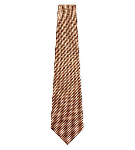 ARMANI COLLEZIONI Micro chevron silk tie (Gold