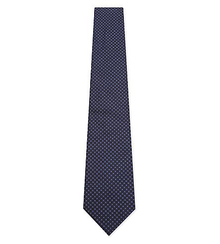 ARMANI COLLEZIONI Tonal squares silk tie (Navy