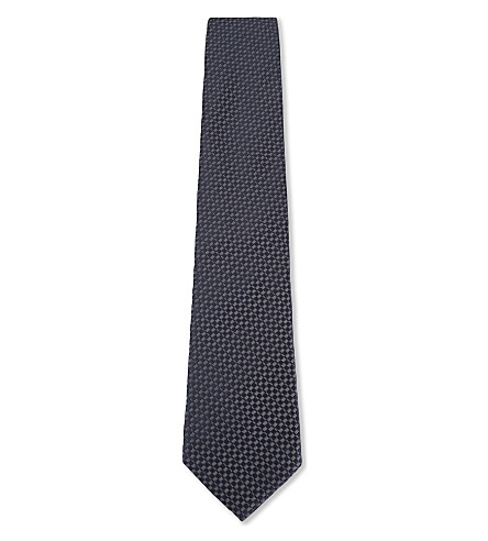 ARMANI COLLEZIONI Tonal check silk tie (Blue