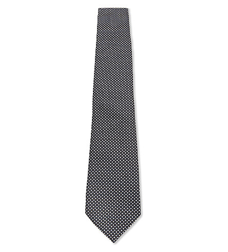 ARMANI COLLEZIONI Basket weave silk-blend tie (Grey