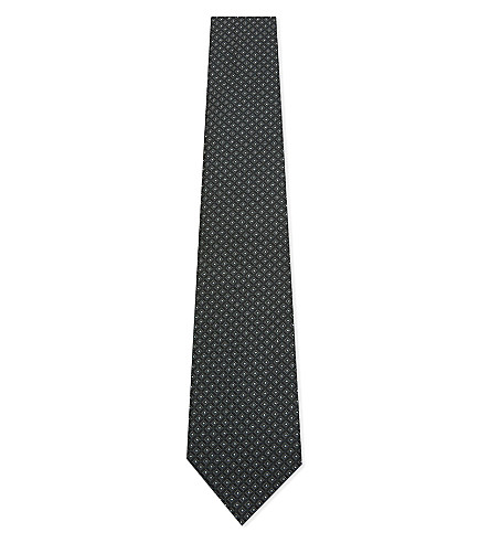 ARMANI COLLEZIONI Silk spotted diamond tie (Green