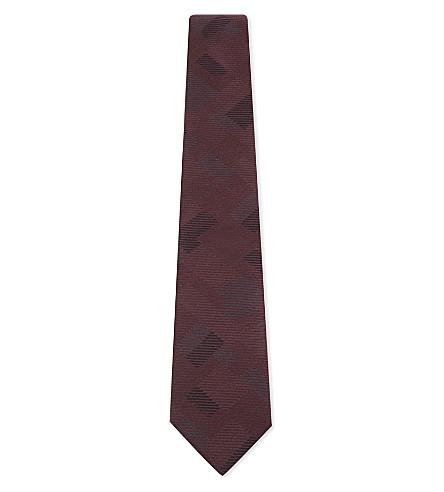 ARMANI COLLEZIONI Multi-block waffle-knit silk tie (Burgundy