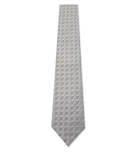 ARMANI COLLEZIONI Silk blend geometric tie (Grey