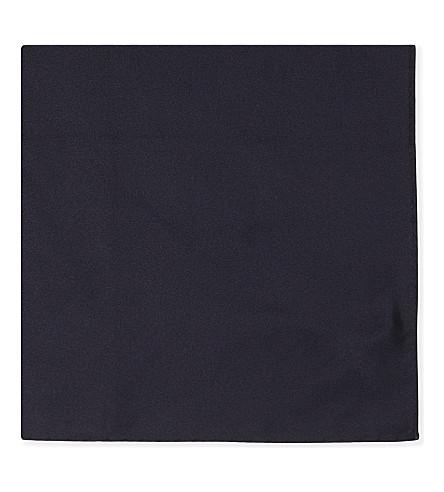 ARMANI COLLEZIONI Two tone solid silk pocket square (Navy