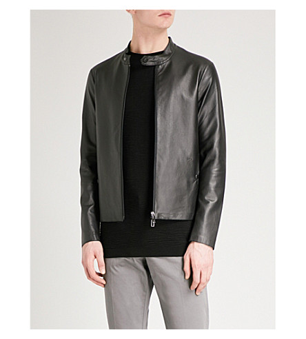 EMPORIO ARMANI Biker-collar leather jacket (Black