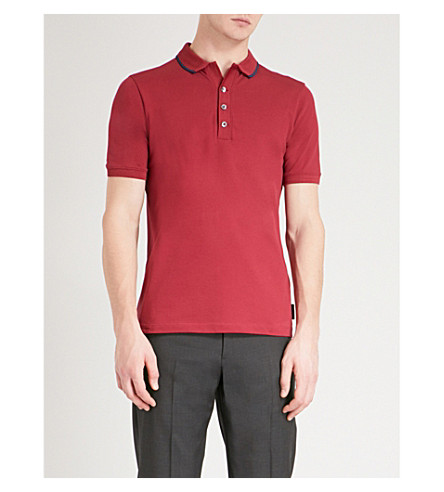 EMPORIO ARMANI Contrast-trim cotton-piqué polo shirt (Red