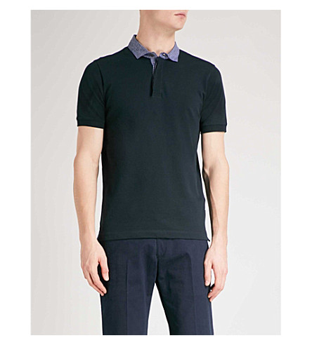 EMPORIO ARMANI Striped-collar cotton-piqué polo shirt (Navy