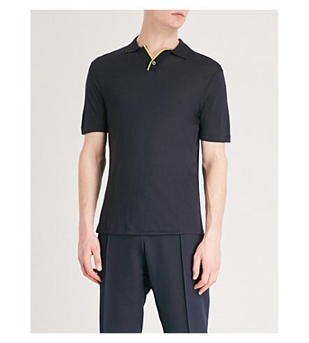 EMPORIO ARMANI Contrast collar woven polo shirt (Navy
