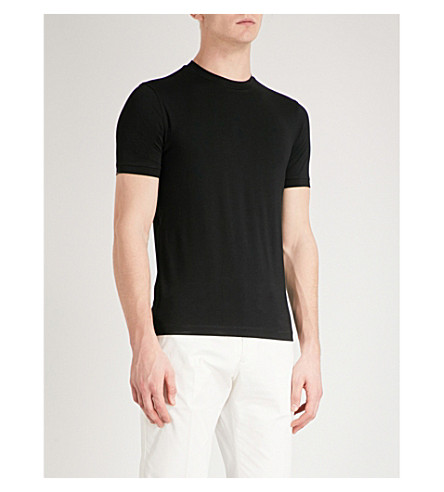 EMPORIO ARMANI Logo-tab stretch-jersey T-shirt (Black
