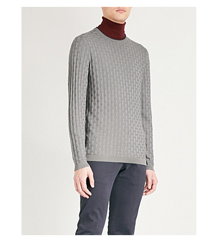 EMPORIO ARMANI Crosshatch-knitted jumper (Grey