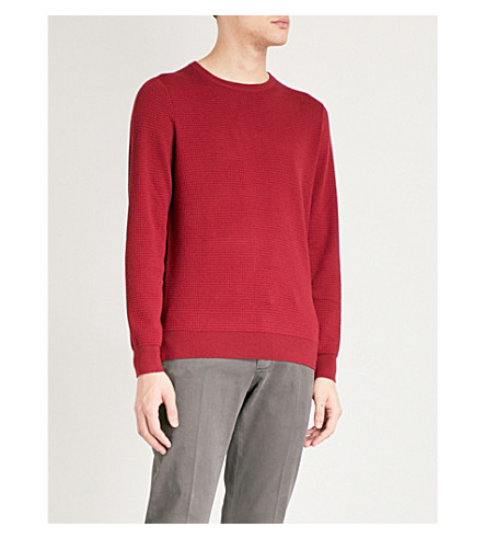 EMPORIO ARMANI Squared-knit wool-blend jumper (Burgundy