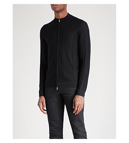 EMPORIO ARMANI Stand-collar ribbed wool cardigan (Black