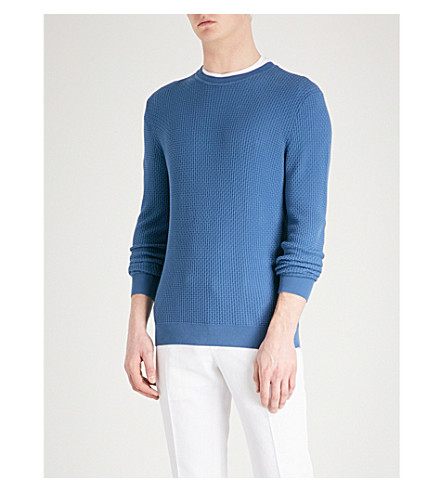 EMPORIO ARMANI Textured knitted cotton jumper (Mid+blue