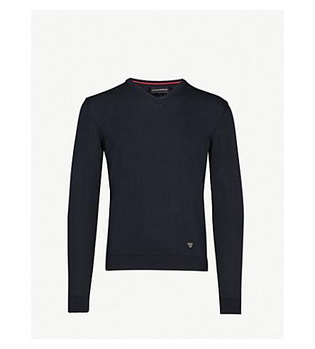 EMPORIO ARMANI V-neck cotton jumper (Navy