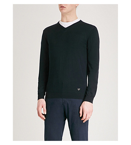 EMPORIO ARMANI V-neck cotton jumper (Navy