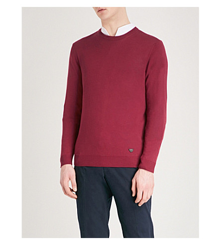 EMPORIO ARMANI Crewneck cotton jumper (Burgundy