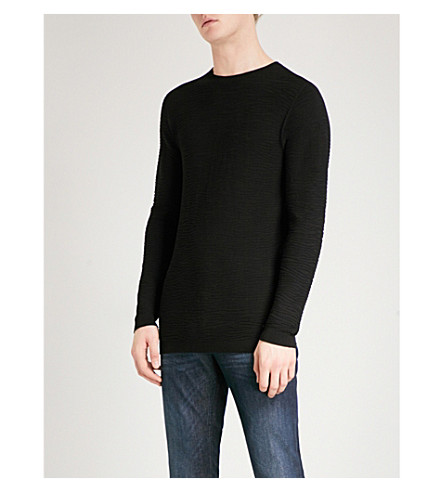 EMPORIO ARMANI Wave-pattern knitted jumper (Black