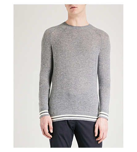 EMPORIO ARMANI Striped-trim cashmere jumper (Grey
