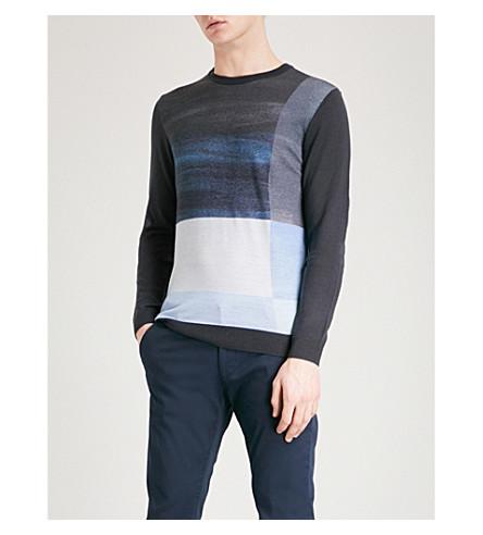 EMPORIO ARMANI Block-pattern wool jumper (Blue