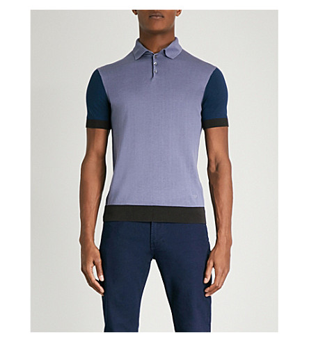 EMPORIO ARMANI Contrasting-panel cotton and silk-blend polo shirt (Blue