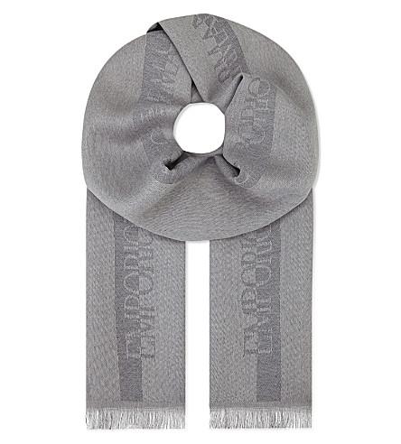 EMPORIO ARMANI Logo wool scarf (Grey