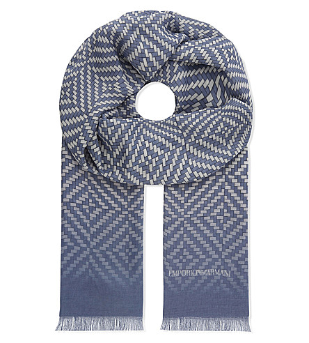 EMPORIO ARMANI Abstract square scarf (Blue