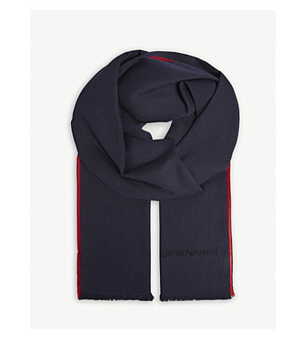 EMPORIO ARMANI Solid silk and wool scarf (Navy/red