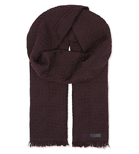 ARMANI COLLEZIONI Geometric triangle motif woven woollen scarf (Bordeux