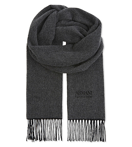 ARMANI COLLEZIONI Herringbone cashmere scarf (Black