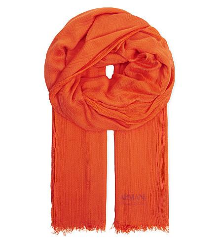 ARMANI COLLEZIONI Herringbone weave scarf (Orange