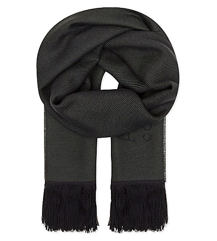 ARMANI COLLEZIONI Logo twill wool scarf (Forest