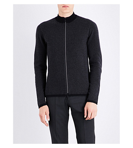 EMPORIO ARMANI Twill knitted cashmere jacket (Black
