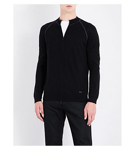 ARMANI COLLEZIONI Band-collar wool sweatshirt (Black