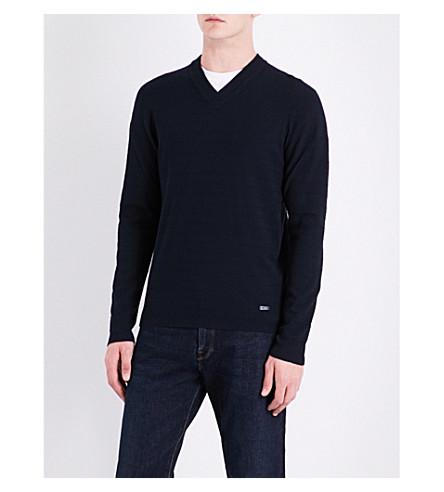 ARMANI COLLEZIONI Chevron knitted jumper (Navy