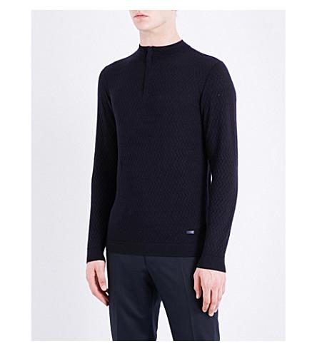 ARMANI COLLEZIONI Zigzag-stitched wool sweatshirt (Navy