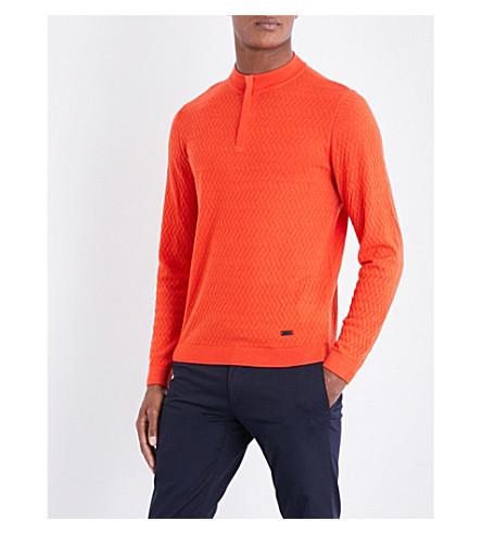 ARMANI COLLEZIONI Zigzag-stitched wool sweatshirt (Orange