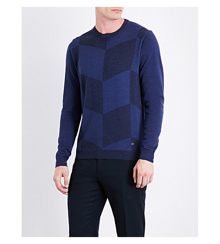 ARMANI COLLEZIONI Geometric wool jumper (Navy