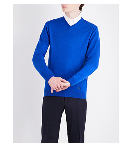ARMANI COLLEZIONI V-neck wool sweater (Cobalt+blue