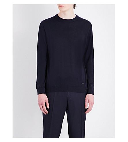 ARMANI COLLEZIONI Crewneck virgin wool jumper (Navy