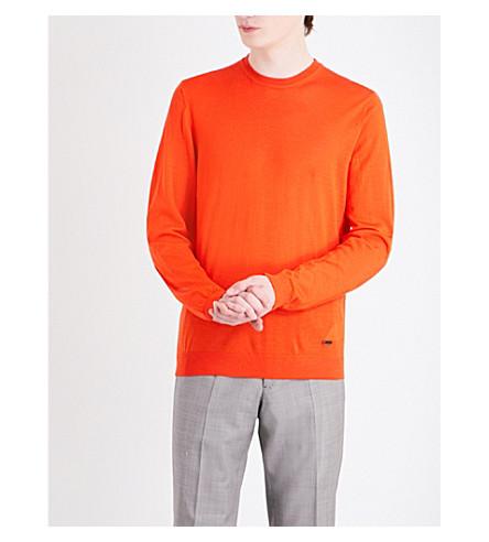 ARMANI COLLEZIONI Crewneck virgin wool jumper (Orange