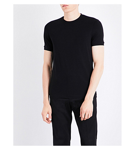 ARMANI COLLEZIONI Crewneck stretch-jersey T-shirt (Black