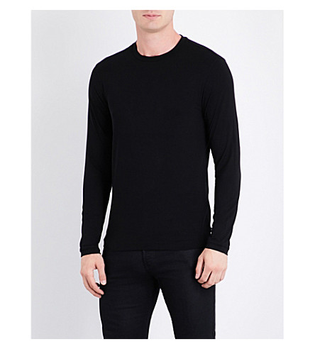 ARMANI COLLEZIONI Crewneck long-sleeved jersey top (Black