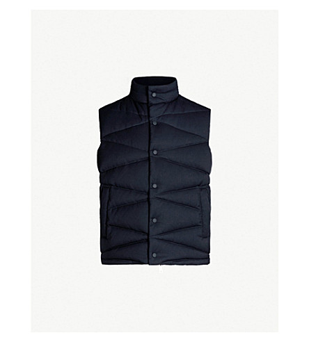 EMPORIO ARMANI Quilted padded wool-blend down gilet (Navy