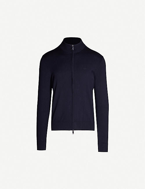 EMPORIO ARMANI Logo embroidered fitted knit cardigan