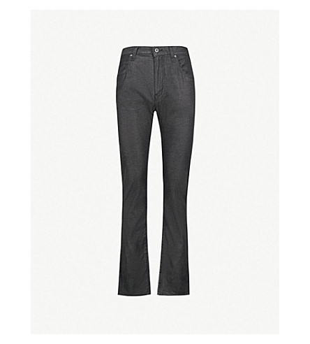 EMPORIO ARMANI Washed regular-fit straight jeans (Black