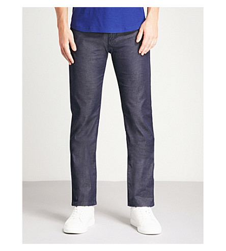 EMPORIO ARMANI Washed regular-fit straight jeans (Indigo