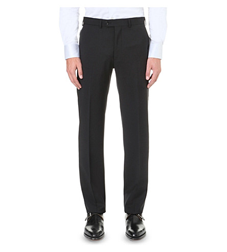 EMPORIO ARMANI Regular-fit wool trousers (Black