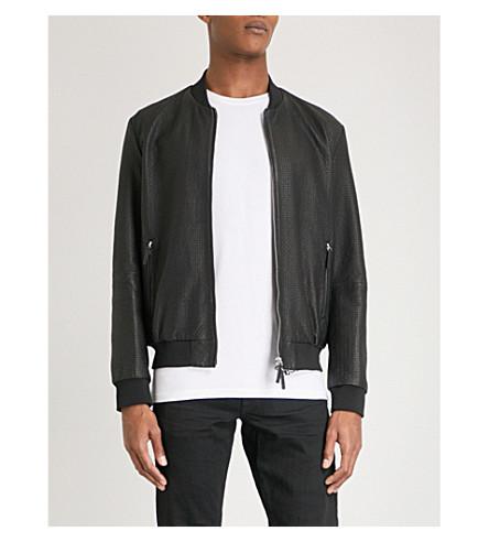 ARMANI COLLEZIONI Checked leather bomber jacket (Black