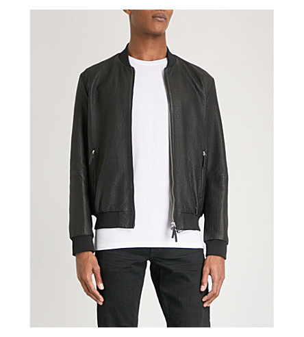 EMPORIO ARMANI Checked leather bomber jacket (Black