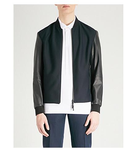 EMPORIO ARMANI Emporio Armani mesh front leather jacket (Navy